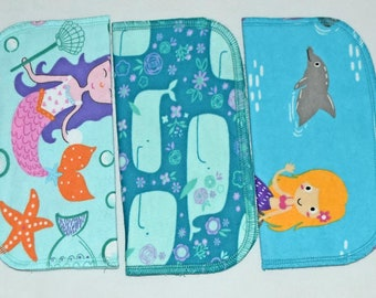 1 Ply Printed Flannel Washable, Mermaid and Friends Set Napkins 8x8 inches 5 Pack - Little Wipes (R) Flannel
