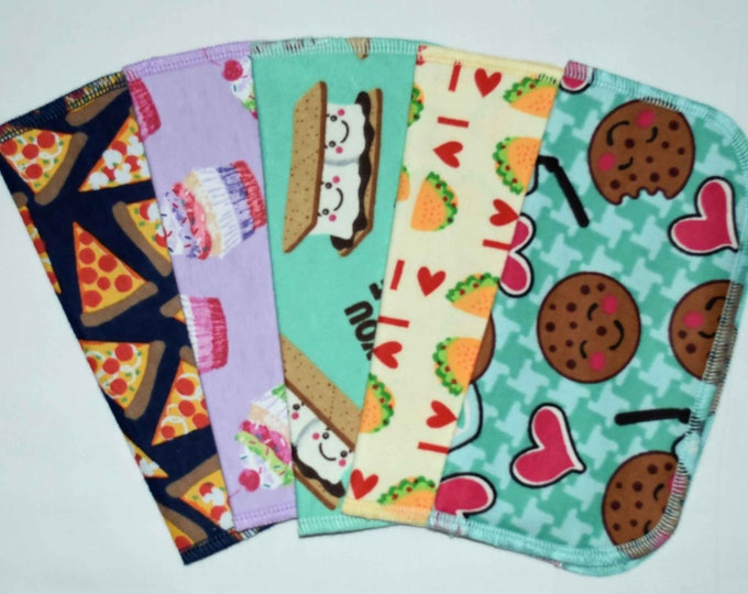 2 Ply Printed Flannel Washable Snack Attack Set Napkins 8x8 inches 5 Pack - Little Wipes (R) Flannel