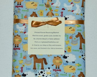 Farm Animals-Blue  Cotton Flannel Receiving Blanket 42x42 Inches