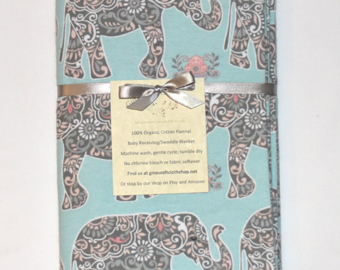 Floral Elephants-Cotton Flannel Receiving Blanket 42x42 Inches