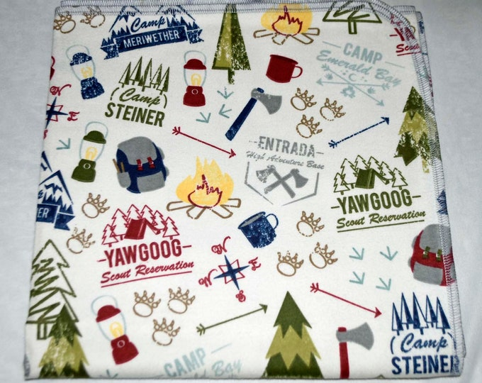Boy Scout Camping Cotton Flannel Receiving Blanket 42x42 Inches