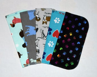 Puppy Prints 1 Ply Printed Flannel Washable Set Napkins 8x8 inches 5 Pack - Little Wipes (R) Flannel