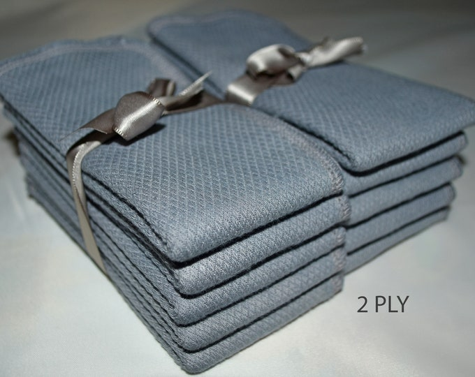 2 Ply 10 x 10.5(pre shrunk) Inches White Cotton Birdseye Paperless Towel Dyed Grey-TRY IT PACK