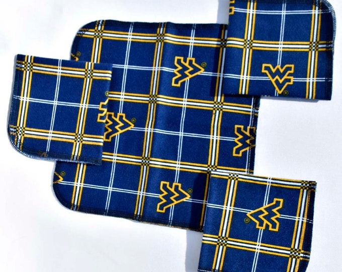 Seconds Printed West Virginia Sets Flannel 1 Ply... 10x10 5 Pack