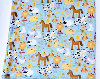 Farm Life Cotton Flannel Receiving Blanket 42x42 Inches