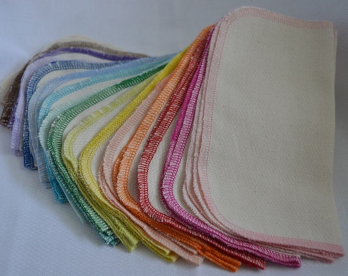 50 pack 2-Ply GOTS Certified Organic Cotton Little Wipes 8x8.....Your Choice of Edging Color