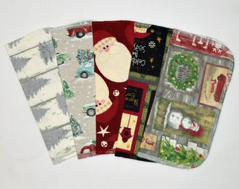 Primitive Christmas 1 Ply Printed Flannel Washable Set Napkins 8x8 inches 5 Pack - Little Wipes (R) Flannel