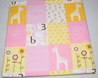 ABC123-Cotton Flannel Receiving Blanket 42x42 Inches
