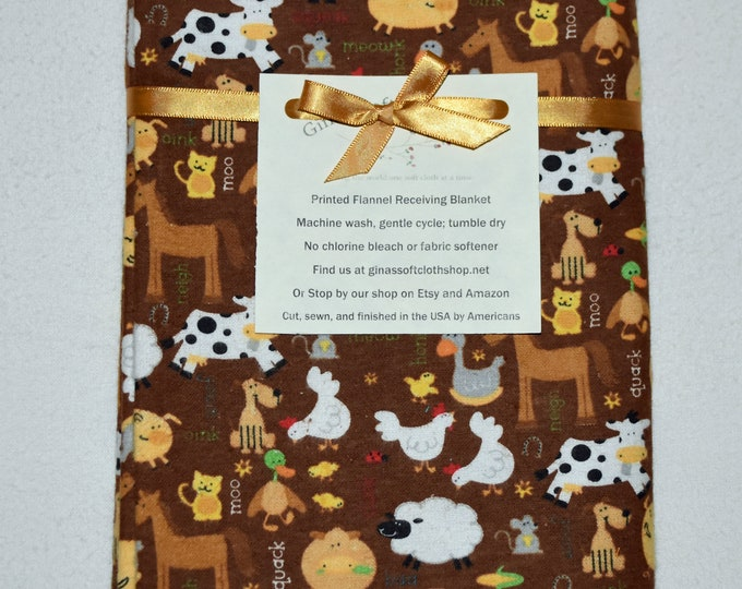 Farm Animals-Brown  Cotton Flannel Receiving Blanket 42x42 Inches
