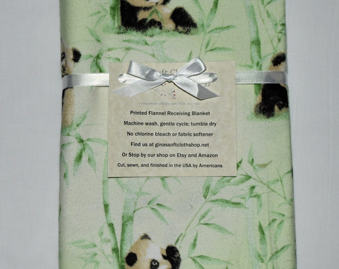 Panda Cotton Flannel Receiving Blanket 42x42 Inches