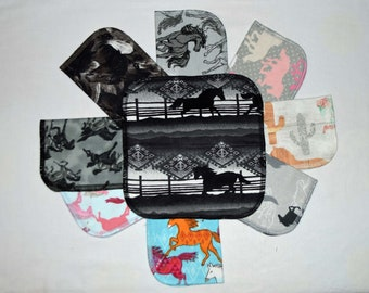 CLOSEOUT!!!!! Horses Variety Set Flannel 2 Ply... 8x8 Little Wipes 5 Pack