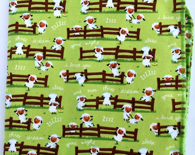 Counting Sheep Cotton Flannel Receiving Blanket 42x42 Inches