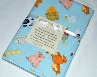 Farm Animals Light Blue-Cotton Flannel Receiving Blanket 42x42 Inches