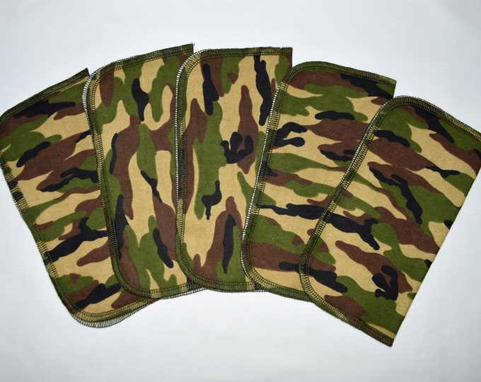 1 Ply Printed Flannel Washable Woodland Camo Set Napkins 8x8 inches 5 Pack - Little Wipes (R) Flannel