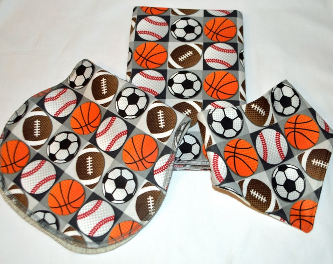 Sports Lovin- Baby Gift Set-Blanket, Burp Cloth, and Bib 100% Cotton-In Beautiful White Gift Box