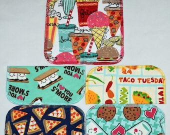 1 Ply Printed Flannel Washable Snack Attack Set Napkins 8x8 inches 5 Pack - Little Wipes (R) Flannel