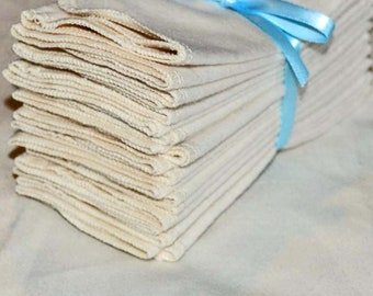 11x12 1ply Flannel GOTS Certified Organic Cotton Paperless Towels- With Organic Cotton thread upgrade