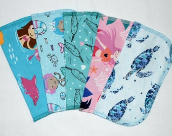 1 Ply Printed Flannel, Mermaids and Friends Napkins 8x8 inches 5 Pack - Little Wipes (R)