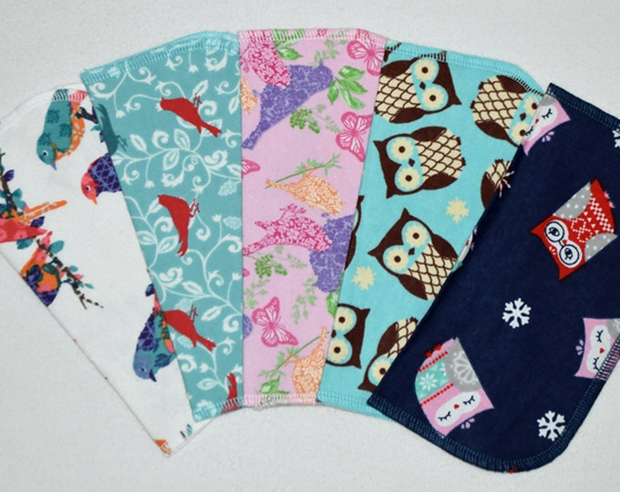 2 Ply Printed Flannel, Owls and Birds Set Napkins 8x8 inches 5 Pack - Little Wipes (R)