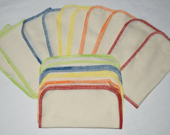 Organic Birdseye Cotton Little Wipes Your choice of Color for the Edges and Quantity