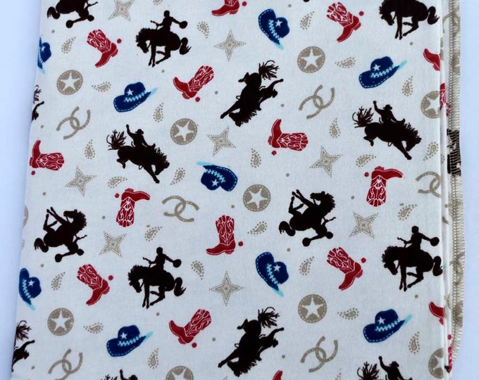 Rodeo Time Cotton Flannel Receiving Blanket 42x42 Inches