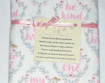 Sweet Brave Little One-Cotton Flannel Receiving Blanket 42x42 Inches