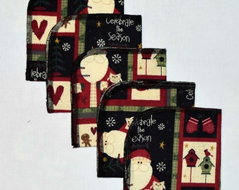 1 Ply Printed Flannel Washable Celebrate the Season Set Napkins 10x10 inches 5 Pack - Little Wipes (R) Flannel
