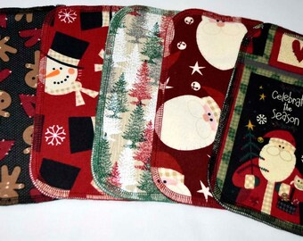 2 Ply Printed Flannel Washable Country Christmas Set Napkins 8x8 inches 5 Pack - Little Wipes (R) Flannel