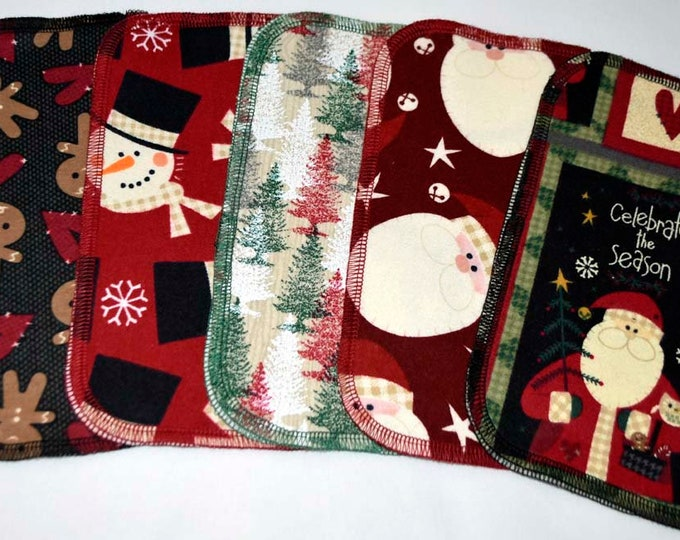 1 Ply Printed Flannel Washable Country Christmas Set Napkins 8x8 inches 5 Pack - Little Wipes (R) Flannel