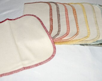 10 pack Flannel GOTS Certified Organic Cotton Little Wipes 8x8 1-Ply.....Your Choice of Edging Color