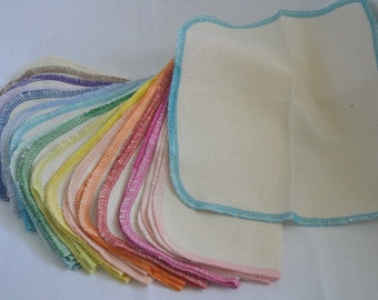 10 pack GOTS Certified Organic Cotton Cloth Wipes Little Wipes 8x8 1-Ply.....Your Choice of Edging Color
