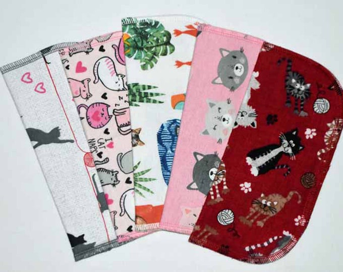1 Ply Printed Flannel, Cat's Meow Napkins 8x8 inches 5 Pack - Little Wipes (R)