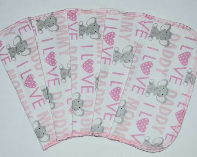 1 Ply Printed Flannel, I Love Mommy and Daddy Pink Elephants Set Napkins 8x8 inches 5 Pack - Little Wipes (R)