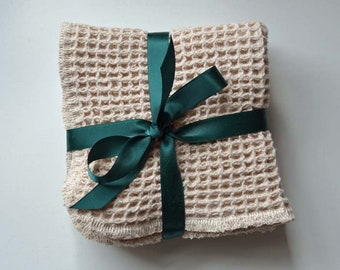 SECONDS------- Organic Waffle Weave Cloths 9x9.   Set of Two Washcloths / Dishcloths