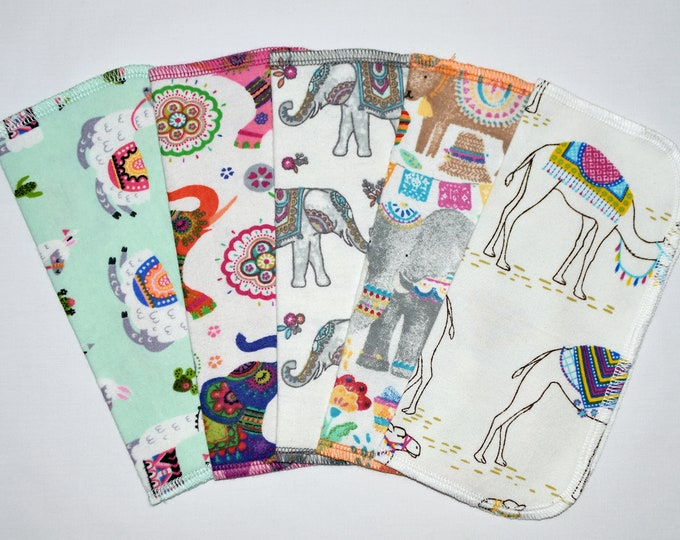 1 Ply Printed Flannel, Palace Pets Set Napkins 8x8 inches 5 Pack - Little Wipes (R)