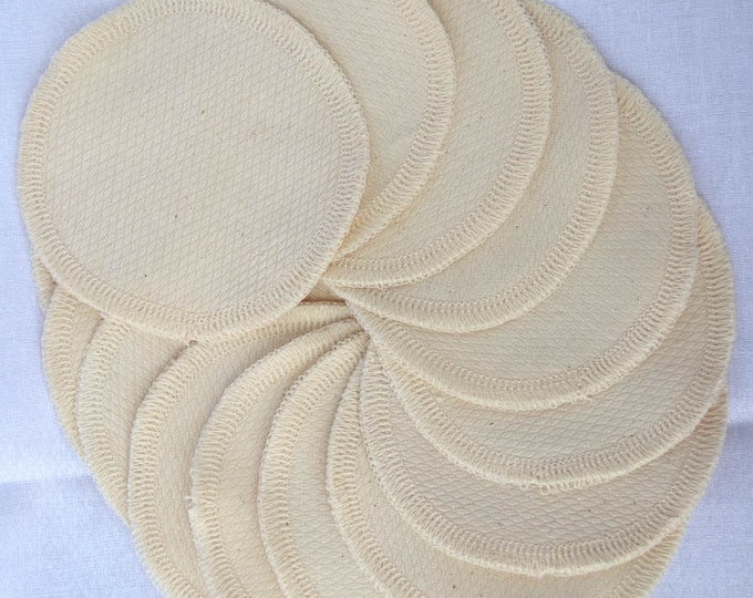 Organic Cotton Facial Rounds, pack of 20 with free mesh wash bag - Makeup remover, washable and reusable