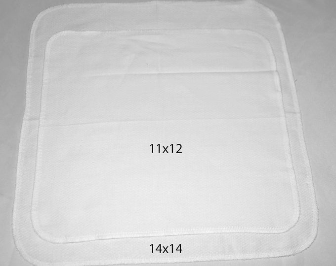 1-Ply 14x14 Large Size White Cotton Paperless Towels or Napkin****** Your choice of color edging