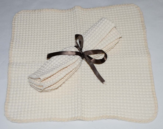 100% Organic Cotton Waffle Weave Natural Dish Cloths-Set of 2----12x12 inches
