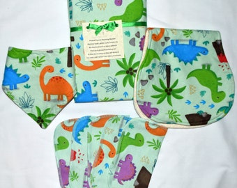 Baby Dinosaur Boy Blanket Set----with Matching Burp Cloth, Matching Bib, Matching 1ply 8x8 Little Wipes-Set comes in Gift Box