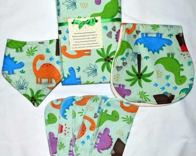 Choose your Print---Baby Boy Blanket Set----with Matching Burp Cloth, Matching Bib, Matching 1ply 8x8 Little Wipes-Set comes in Gift Box