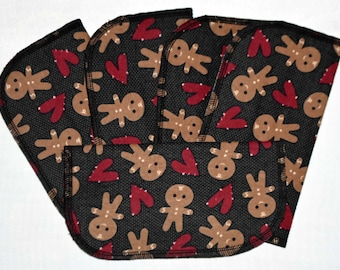 2 Ply Printed Flannel Washable Gingerbread Man Set Napkins 8x8 inches 5 Pack - Little Wipes (R) Flannel