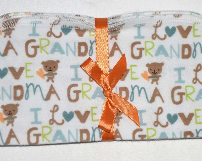 1 Ply Printed Flannel Washable I Love Grandma Set Napkins 8x8 inches 5 Pack - Little Wipes (R) Flannel