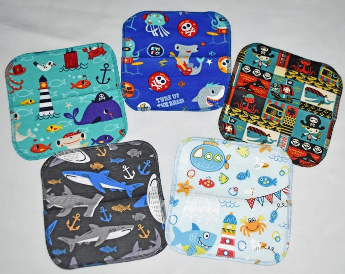 2 Ply Printed Flannel Washable Pirates and Pals Set Napkins 8x8 inches 5 Pack - Little Wipes (R) Flannel