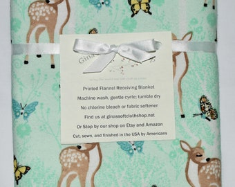 Enchanted Fawn  Cotton Flannel Receiving Blanket 42x42 Inches