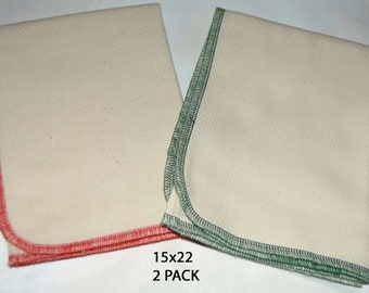 2 PLY, 15x22 PACK OF 2-Organic Cotton Birdseye Large Towels-Sewn with polyester thread....Your Choice of Edging Color