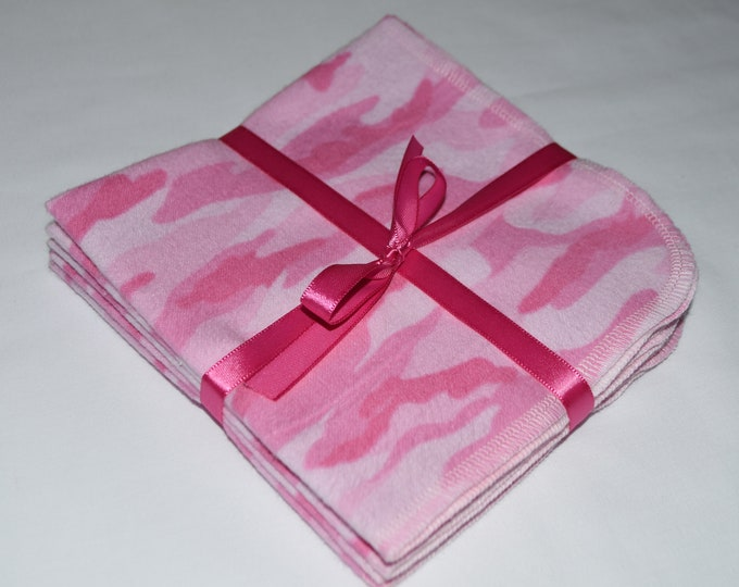 1 Ply Printed Cotton Flannel 12x12 Inches Little Wipes Set of 5 Pink Camo