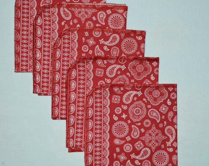 CLOSEOUT!!!!! Red Bandana Set Flannel 1 Ply... 12x12 Little Wipes 5 Pack