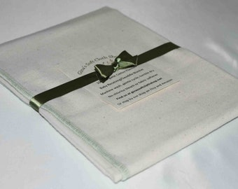 Organic Flannel Receiving or Swaddling Blanket. Sewn with Green Organic Cotton Thread 28x28 Inches