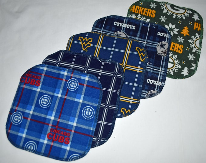 Seconds Printed Assorted Sports Sets Flannel 1 Ply... 8x8 10 Pack