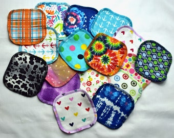 2PLY Printed Flannel Facial Rounds- Mystery Prints---- 10 Pack with Free Mesh Bag
